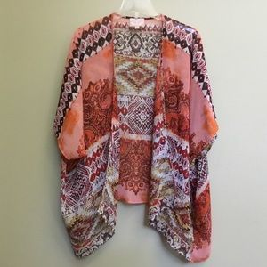 ROMEO JULIET COUTURE coral red sheer Kimono S